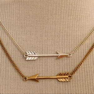 """Jewelry - 1 silver & 1 gold✌🏼adjustable """"arrow"""" necklace"""